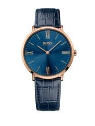Hugo Boss Jackson Rose Goldplated Stainless Steel Sunray Dial Leather Strap Watch Blue