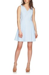 Cece Clairborne Eyelet Fit And Flare Dress Bluebird