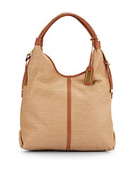 Badgley Mischka Dany Woven Straw Hobo Bag Cognac