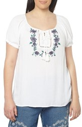 Evans Plus Size Women's Embroidered Peasant Top White