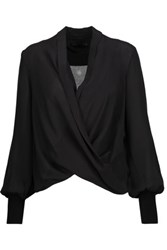 Alice Olivia Elisha Draped Wrap Effect Silk Satin Blouse Black