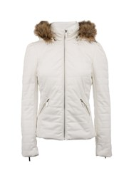 Morgan Down Jacket With Faux Fur Hood Off White