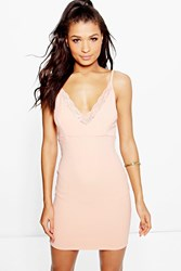 Boohoo Lace Trim Strappy Slip Dress Apricot