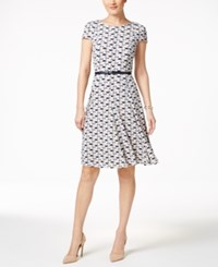 Jessica Howard Printed Belted Fit And Flare Dress Navy Neutral