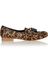Rupert Sanderson Devon Tasseled Leopard Print Calf Hair Loafers Animal Print