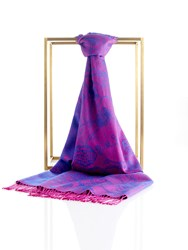 Shanghai Tang Two Tone Lucky Charms Pashmina Shawl With Tassel Navy