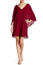 Cupcakes And Cashmere V Neck 3 4 Butterfly Sleeve Dress Red