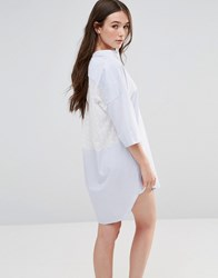 French Connection Albie Striped Shirt Dress With Lace Back Summer White Blue
