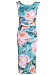 Jolie Moi Floral Ruched Shift Dress Green