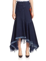 Marques Almeida Frayed Denim Skirt Indigo