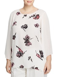 Vince Camuto Plus Floral Pleated Bell Sleeve Blouse New Ivory