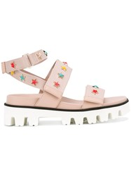 Red Valentino Star Studded Strapped Sandals Pink Purple
