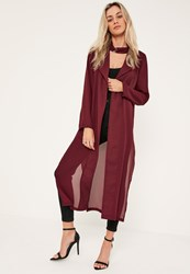 Missguided Burgundy Long Sleeve Maxi Duster Jacket