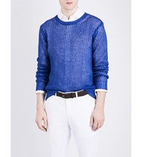 Ralph Lauren Purple Label Open Knit Linen Jumper Royal Blue