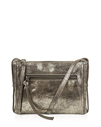Kooba Marlowe Metallic Mini Leather Crossbody Gunmetal Silver