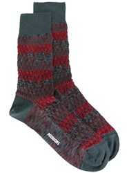 Missoni 'Zig Zag Mix Knit' Socks Blue