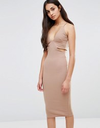 Oh My Love Cut Out Dress Camel Tan