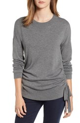 Chelsea 28 Chelsea28 Ruched Side Sweater Grey Dark Heather