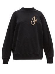 J.W.Anderson Jw Anderson Logo Embroidered Split Sleeved Cotton Sweatshirt Black
