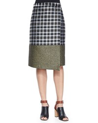 Suno Midi Asymmetric Wrap Skirt Golden Plaid