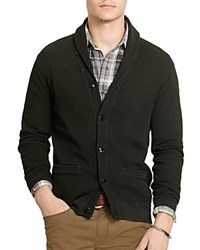 Polo Ralph Lauren Waffle Knit Pima Cotton Cardigan Sweater Polo Black