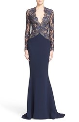 Women's Reem Acra V Neck Lace And Silk Crepe Trumpet Gown
