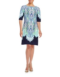 Eliza J Paisley Shift Dress Blue