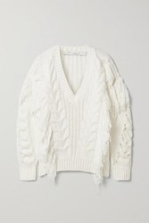 Iro Wynd Fringed Cable Knit Cotton Blend Sweater White