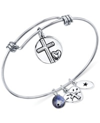 Unwritten He Is Love Charm And Sodalite Bead 8Mm Bangle Bracelet In Stainless Steel