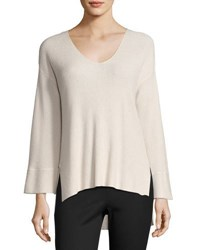 Atm Anthony Thomas Melillo Ribbed V Neck Pullover Sweater Blush
