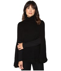 Halston Long Slit Sleeve Poncho Sweater With Fringe Black Women's Sweater
