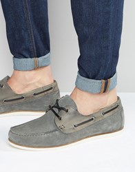 Asos Boat Shoes In Grey Suede With Perforation Grey
