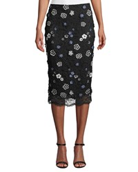 Lela Rose Floral Lace Knee Length Pencil Cocktail Skirt Black Blue