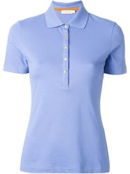 Tory Burch Snap Button Polo Shirt Blue