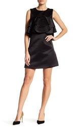English Factory Tiered Satin Ruffle Mini Dress Black