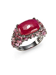 Bavna Diamond Faux Ruby And Sterling Silver Ring