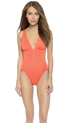 Adidas By Stella Mccartney Deep V One Piece Swimsuit Toasted Orange