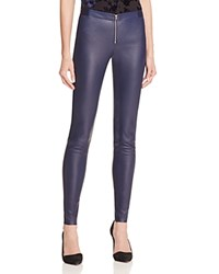 Alice Olivia Zip Front Leather Leggings Navy