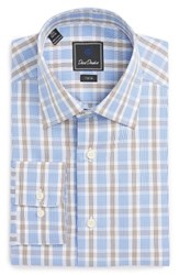 David Donahue Men's Big And Tall Trim Fit Plaid Dress Shirt Blue Chocolate