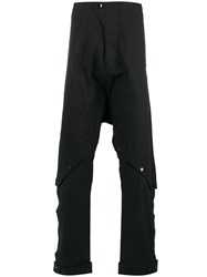 Barbara I Gongini Buttoned Knees Drop Crotch Trousers Black
