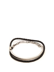 Title Of Work Leather And Sterling Silver Wraparound Bracelet Black Multi
