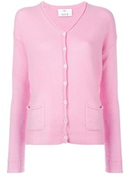 Allude V Neck Cardigan Pink Purple