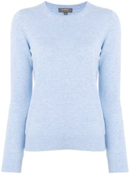 N.Peal Crew Neck Cashmere Sweater Blue