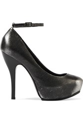 Mcq By Alexander Mcqueen Metallic Leather Pumps Gray