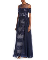 Rickie Freeman For Teri Jon Embellished Sequin Tulle Illusion Gown Navy