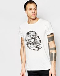 Cheap Monday T Shirt Cap Moon Skull Print In White White