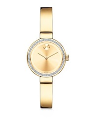 Movado Bold Diamond And Goldtone Ip Stainless Steel Bangle Bracelet Watch