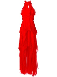 Emilio Pucci Halterneck Layered Ruffle Gown