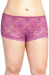 Hanky Panky Plus Size Women's 'Betty' Lace Boyshorts Fine Wine Enchanted Rose
