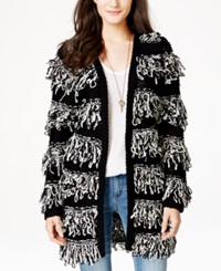 Material Girl Juniors' Striped Loop Knit Long Cardigan Sweater Only At Macy's Caviar Black Combo
